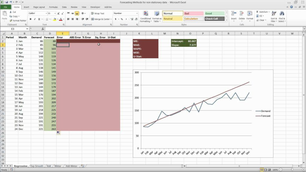 Sales forecast Spreadsheet Example and forecasting In Excel Using Simple Linear Regression Youtube