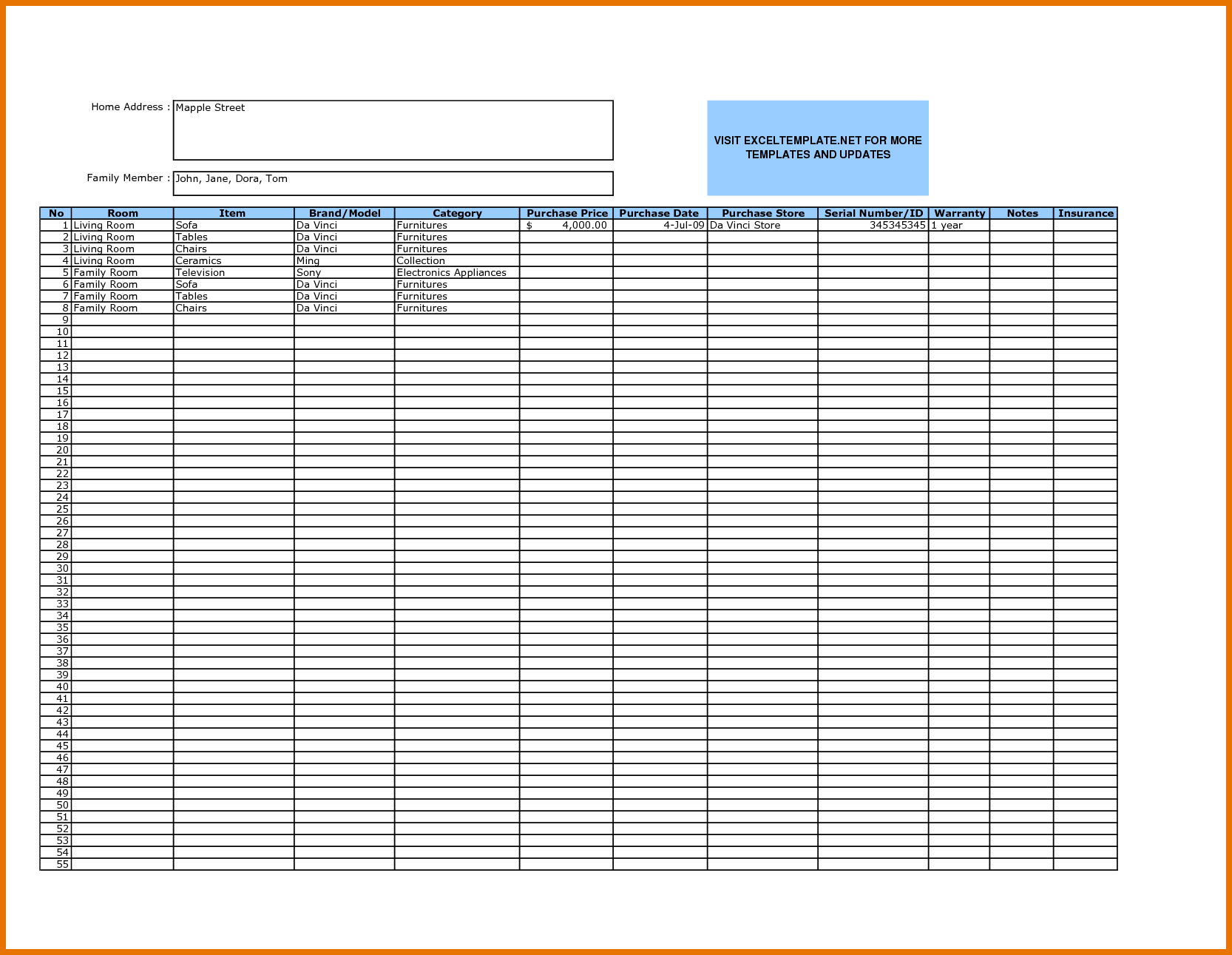 Sample Bar Inventory Spreadsheet and Excel Template for Warehouse Management Greenpointer