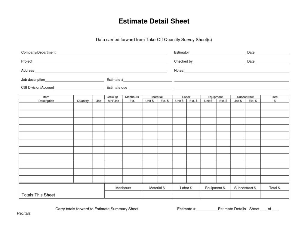 Sample Construction Estimate form and Carried forward From Takeoff Quantity Survey Sheet