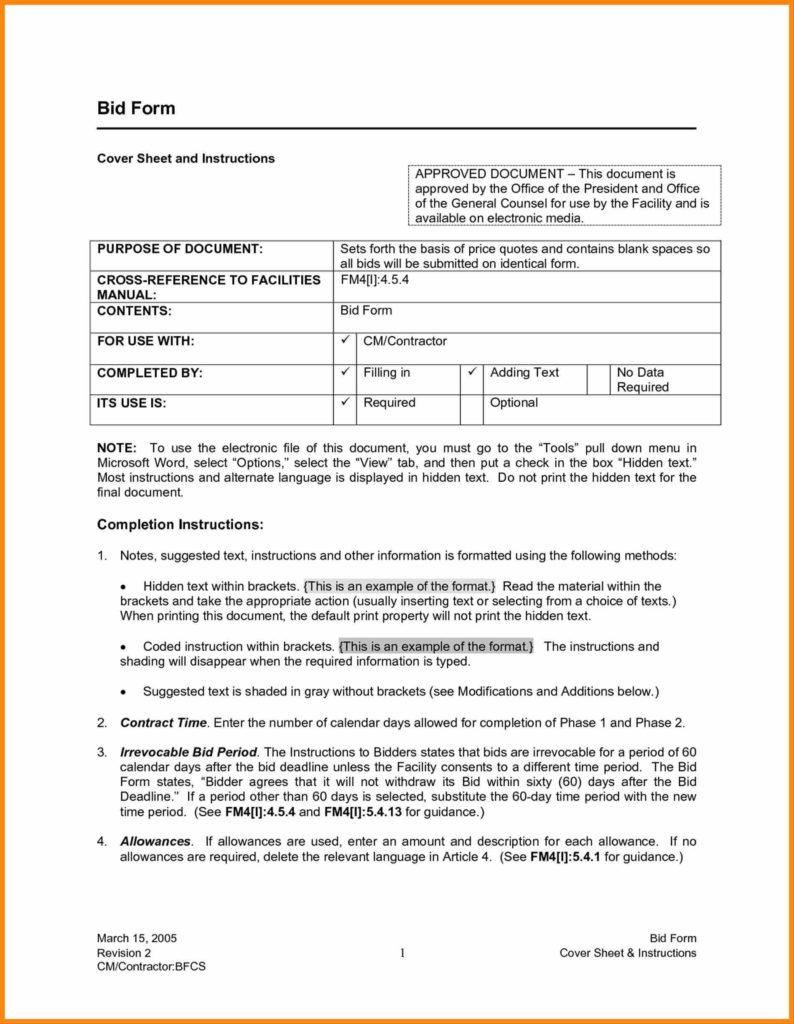 Sample Construction Estimate form and Contractor Bid Sheet Template Contractor Bid Proposal forms