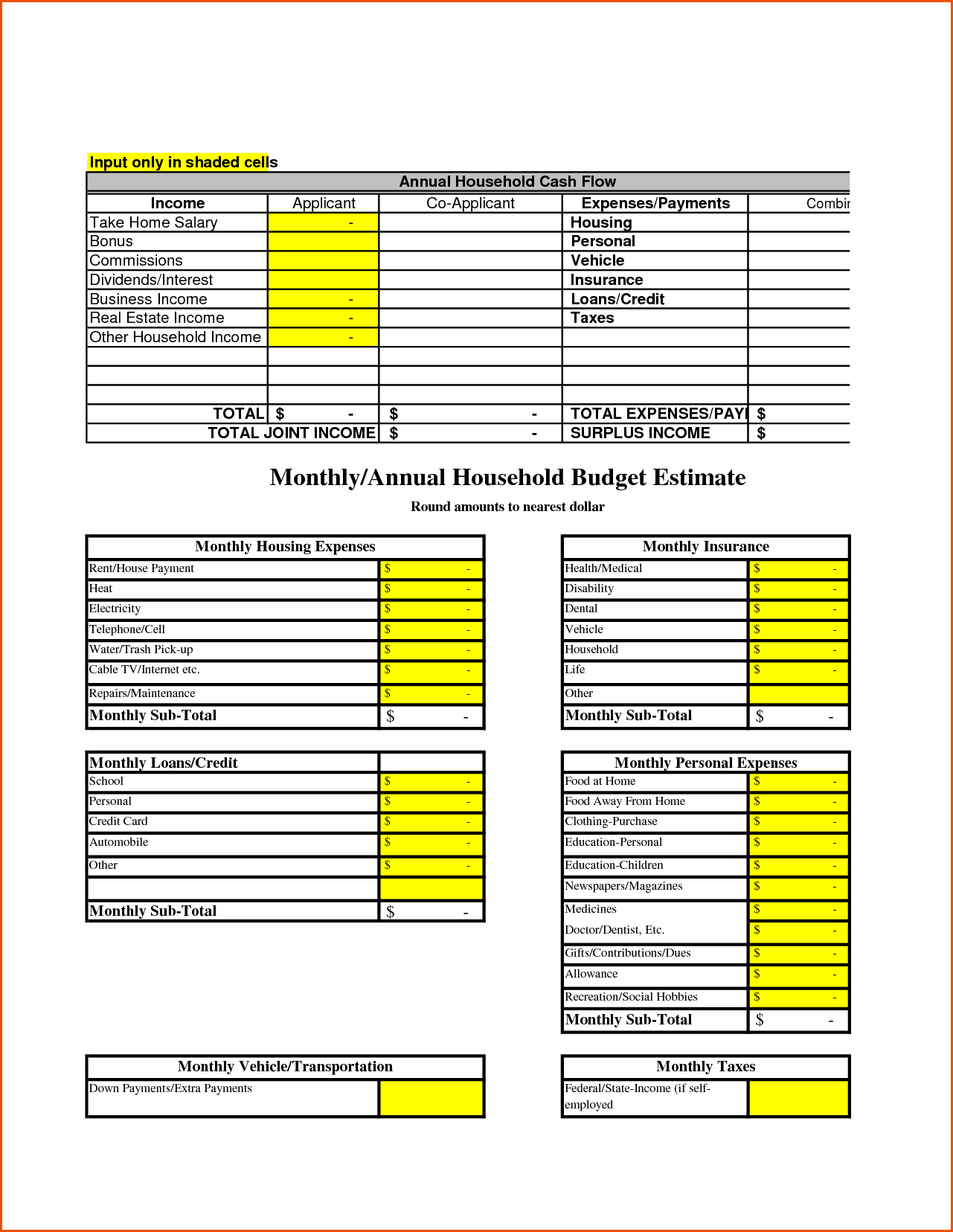 Sample Household Budget Sheet and Household Bud Templatememo Templates Word Memo Templates Word