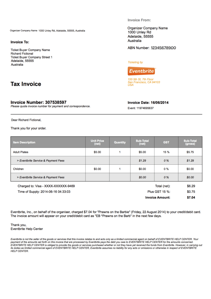 Sample Of A Invoice and How to A Tax Invoice for Your order eventbrite Support