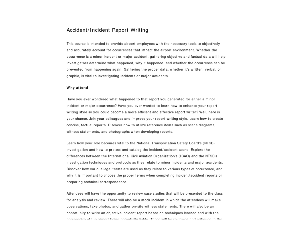Sample Of Accident Report Writing and Best Photos Of Writing An Incident Report Sample Incident Report