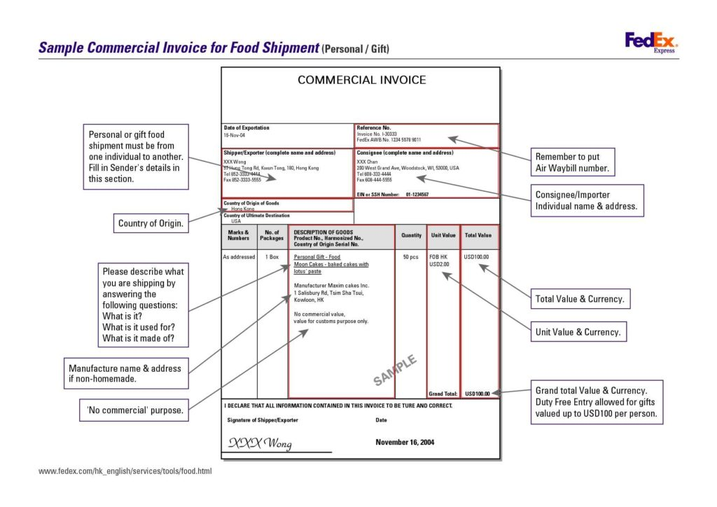 Sample Of Commercial Invoice and 11 Mercial Invoice Templates Free Documents In Word