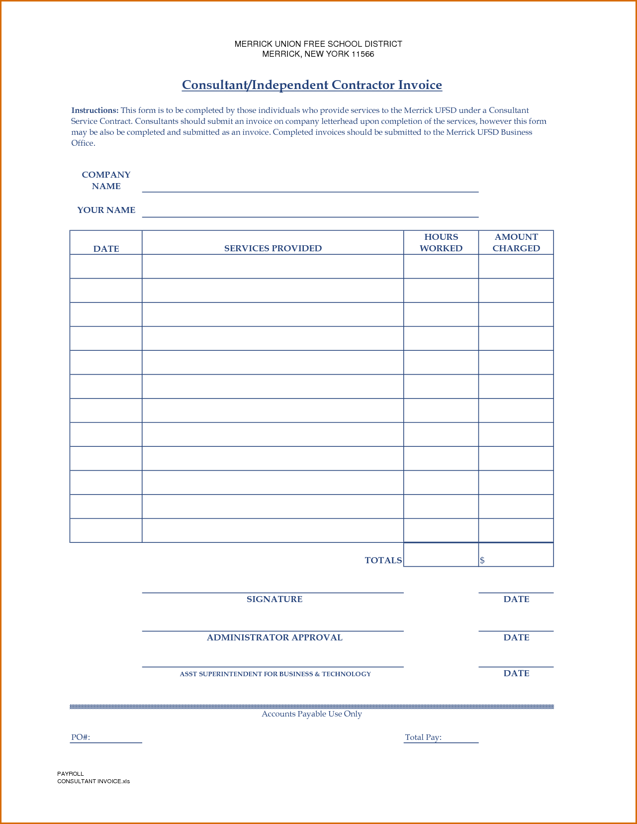 Sample Of Contractor Invoice and 10 Independent Contractor Invoice Template Authorizationletters