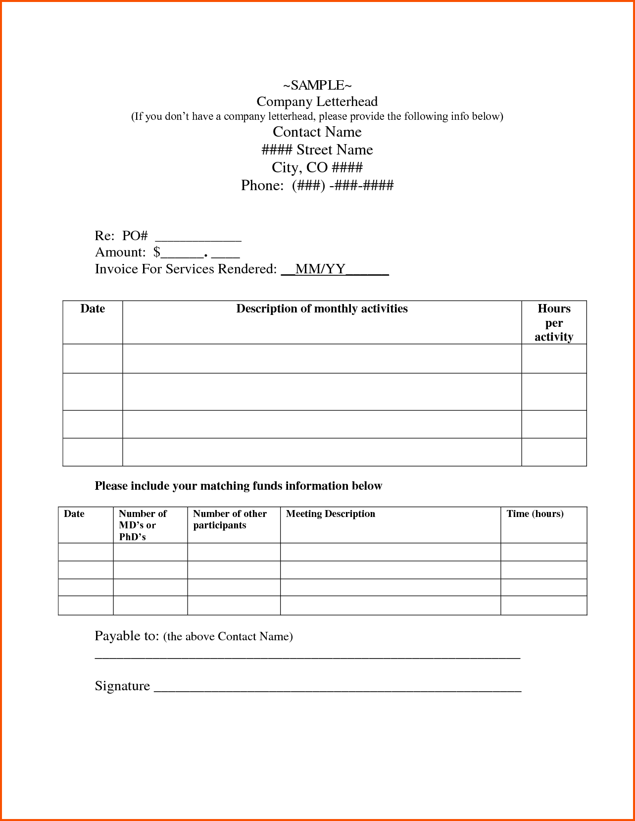 Sample Of Contractor Invoice and Independent Contractor Cover Letter