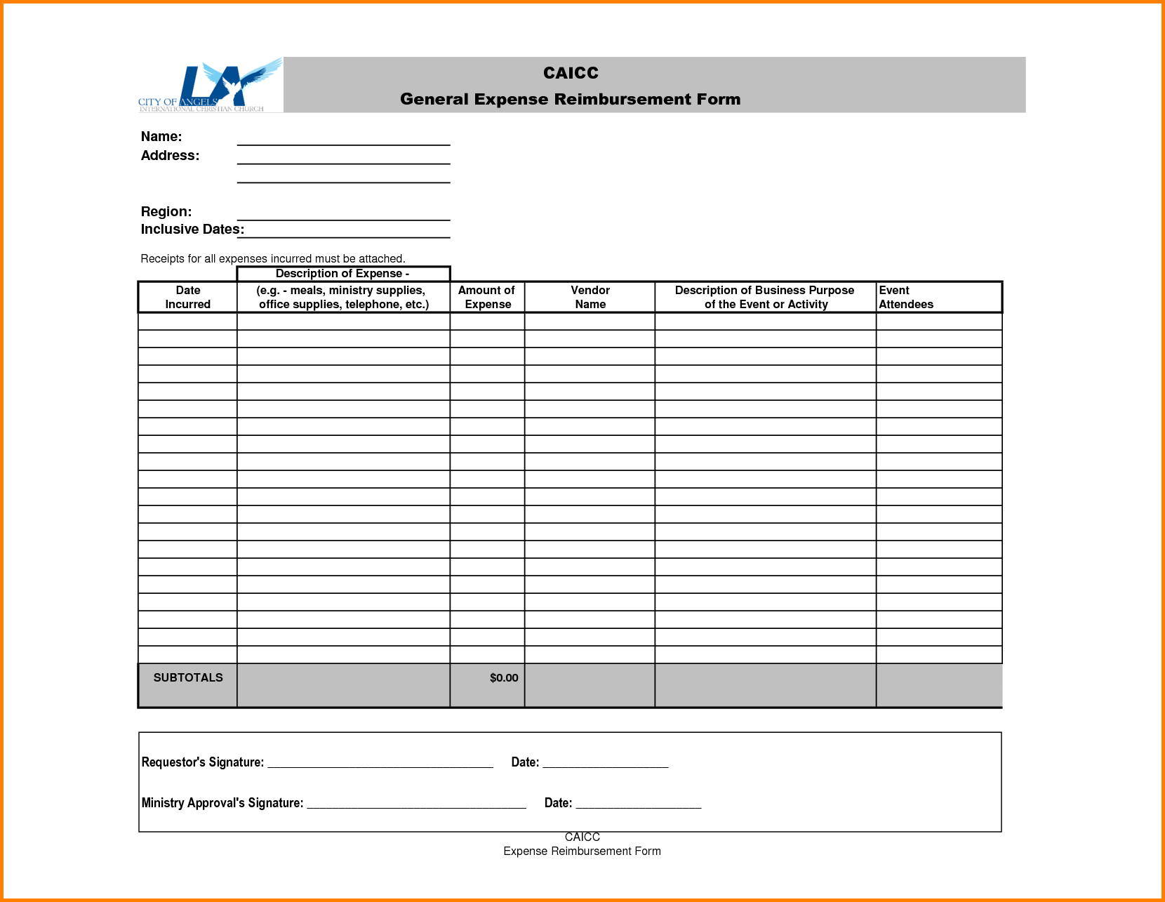 Sample Of Expense Report and Expense Reimbursement form Expense Report Reimbursement form