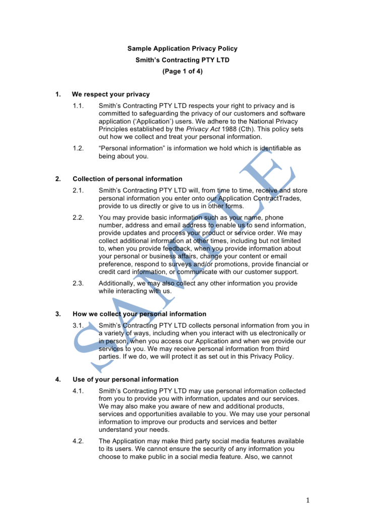 Sample Of Privacy Policy Statement and Mobile App Privacy Policy Sample Lawpath