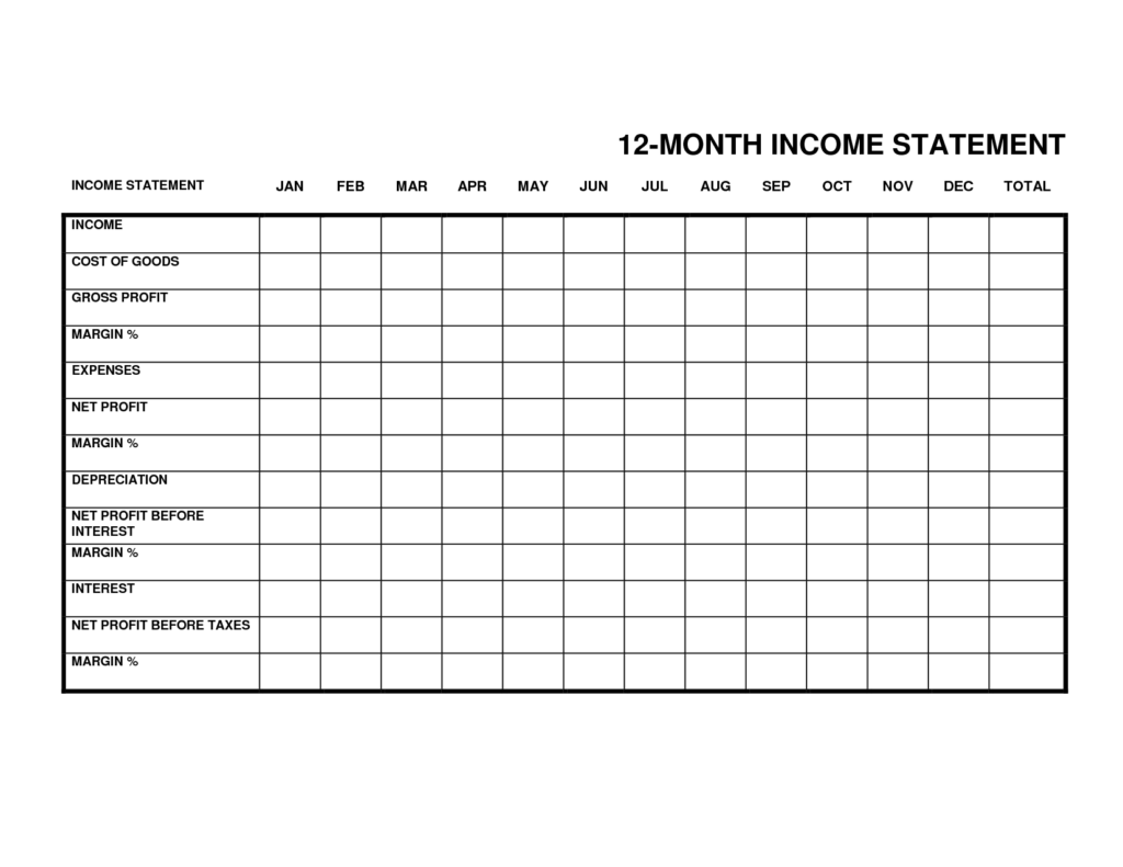 Sample Profit and Loss Statement form and Monthly In E Statement Small Business Monthly In E Statement