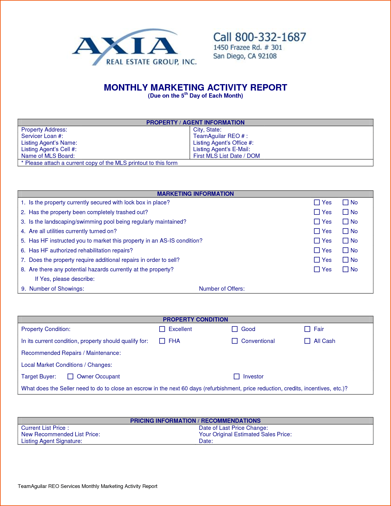Sample Sales Call Reports and Weekly Sales Activity Report Sample