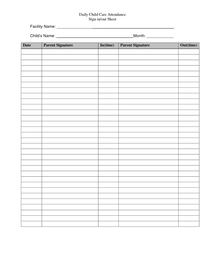 Sample Time Sheets to Print and Templates that are Free for Daycare Signs Daily Child Care