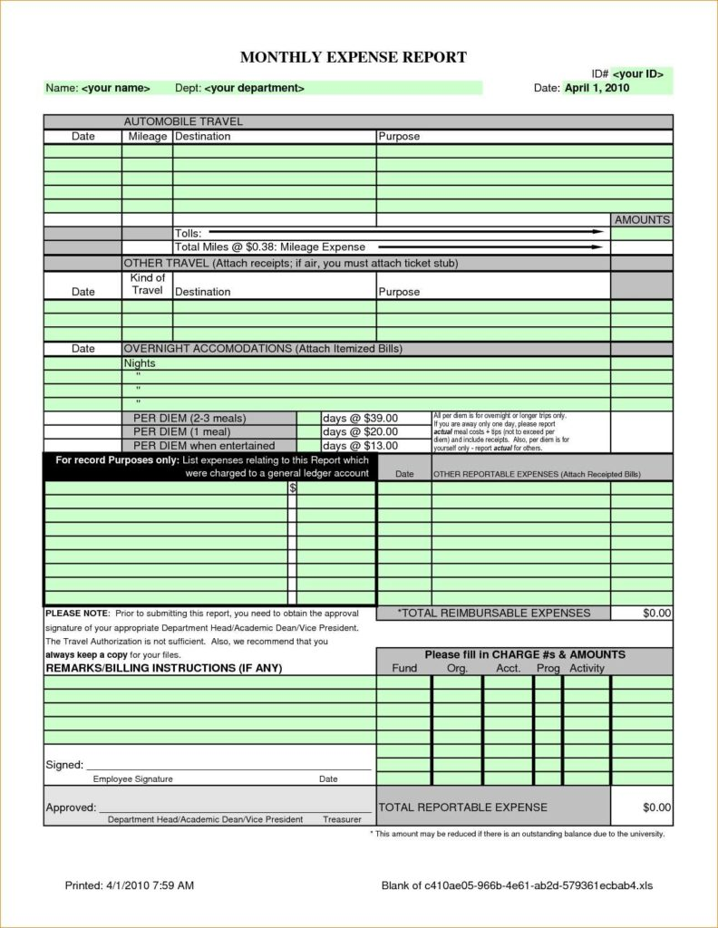 Sample Travel Expense Policy and Monthly Expense Report Template Excel Template