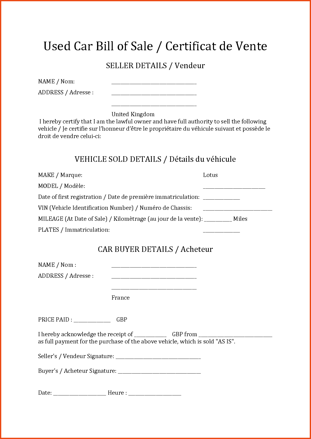 Samples Of Bill Of Sale for Car and Bill Of Sale Examplemple Bill Of Sale Sponsorship Letter