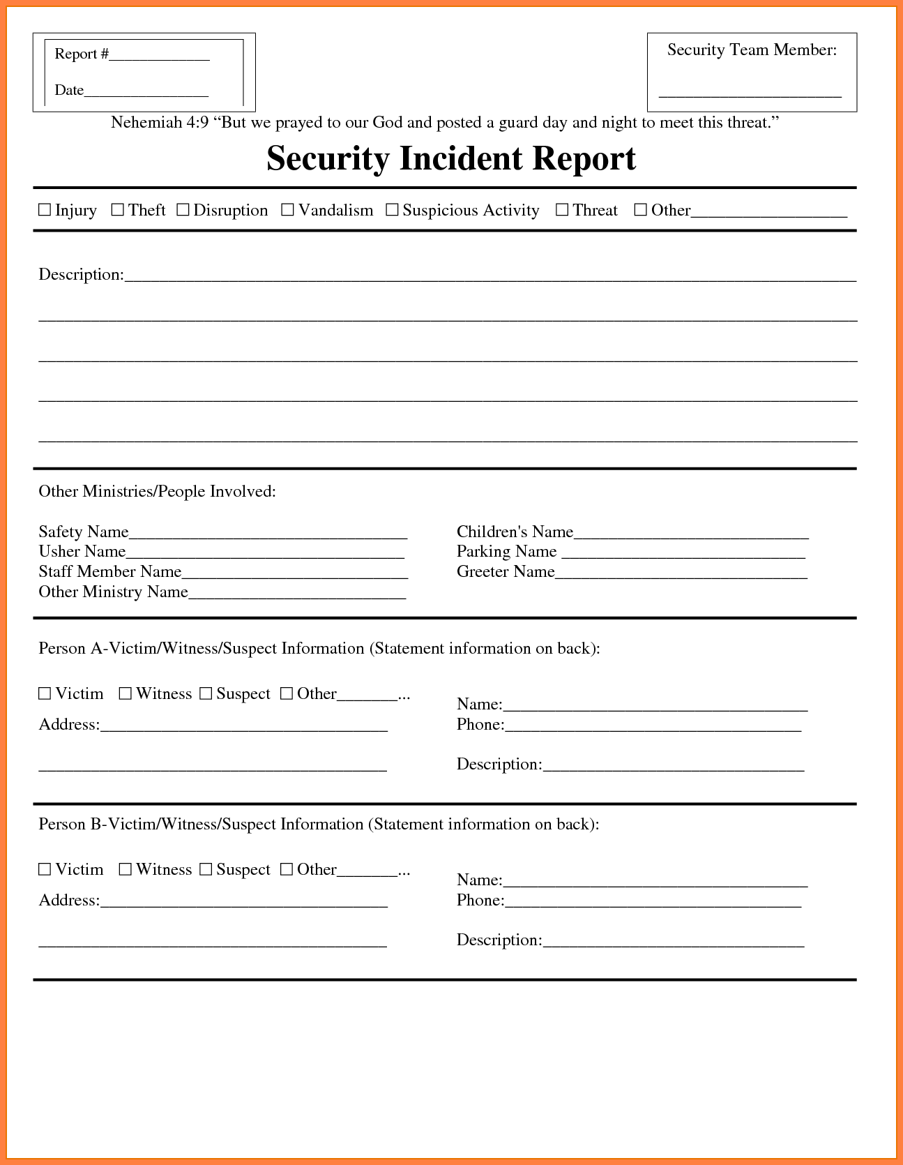 Samples Of Incident Report and 7 Security Incident Report Template Invoice Example 2017