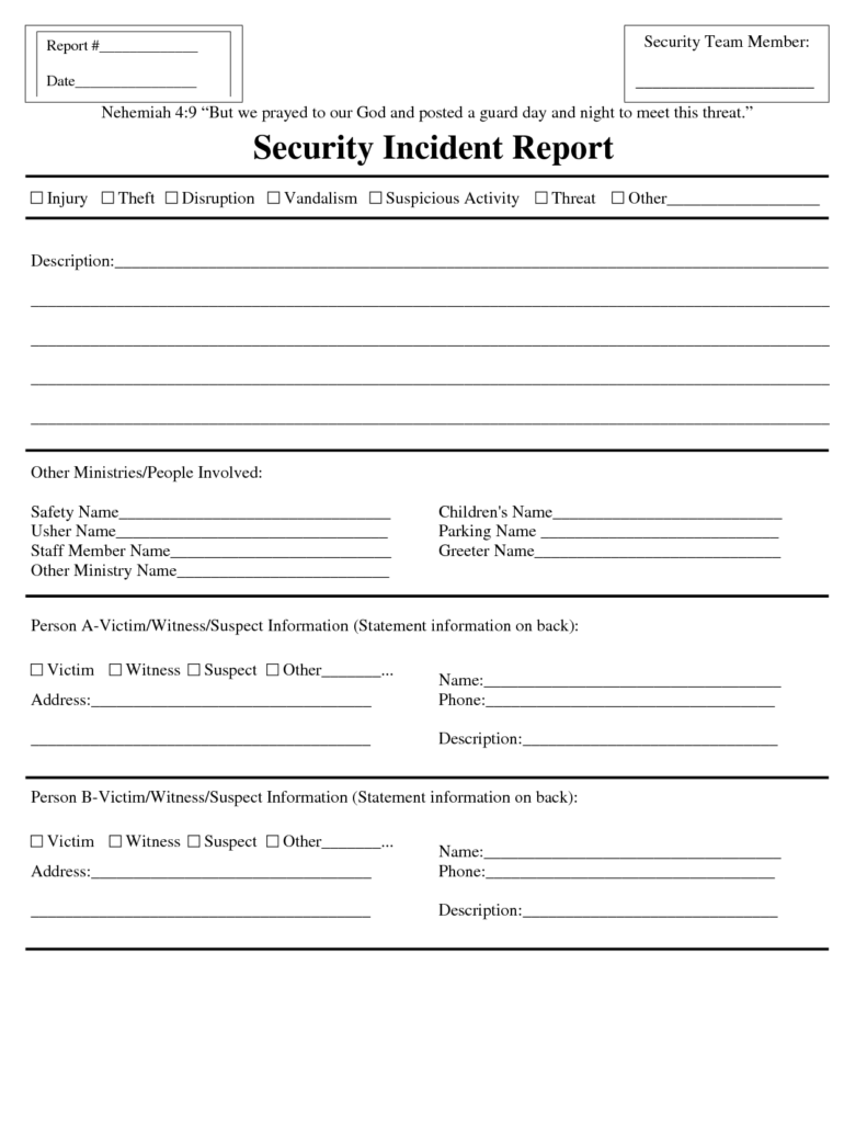 Security Guard Incident Report Example and Best Photos Of Security Guard Incident Report form Security