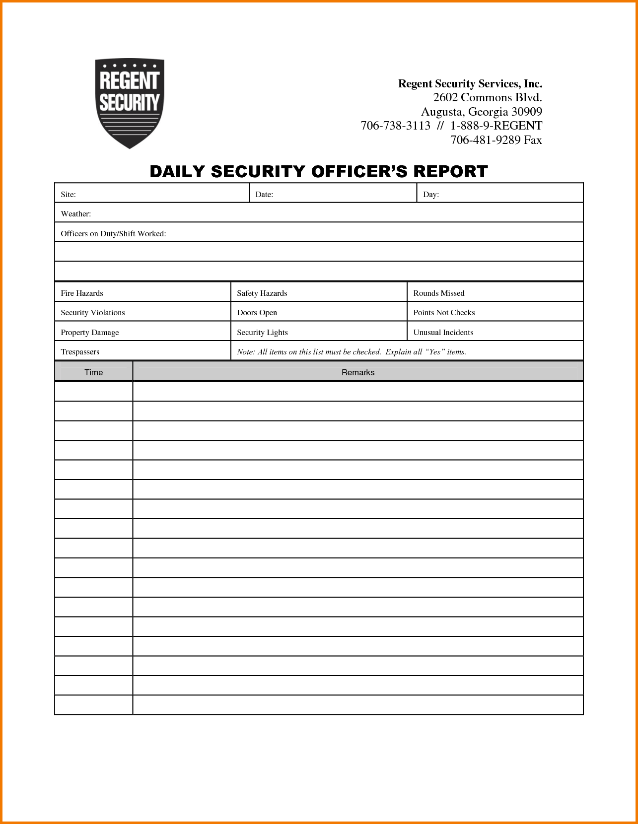 Security Guard Report Example and 3 Security Incident Report Template Expense Report