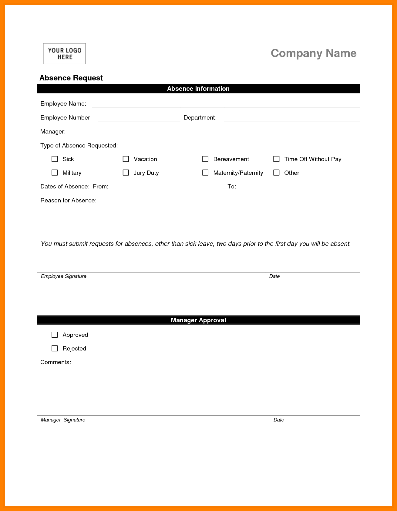 Sick Sheet Sample and 7 Leave Of Absence form Sample Tar Cashier