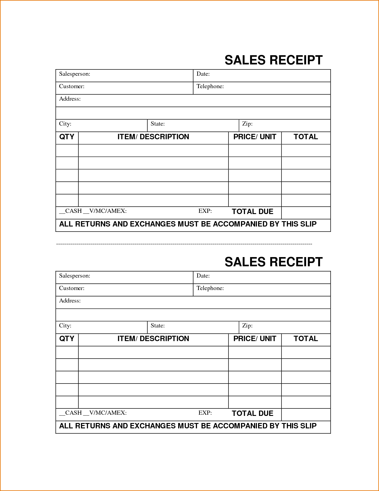 Simple Sales Invoice Template and Sales Receipt form Printable Receipt