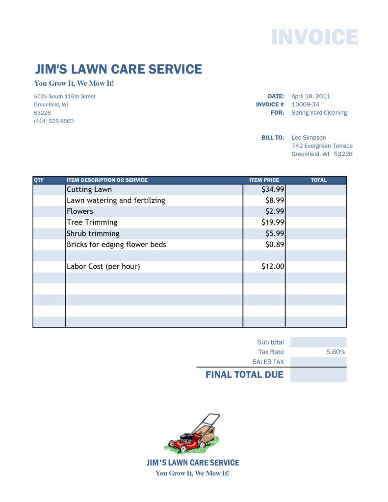 Small Business Invoice Template Free and Lawn Care Invoice Template Firmsinjafo