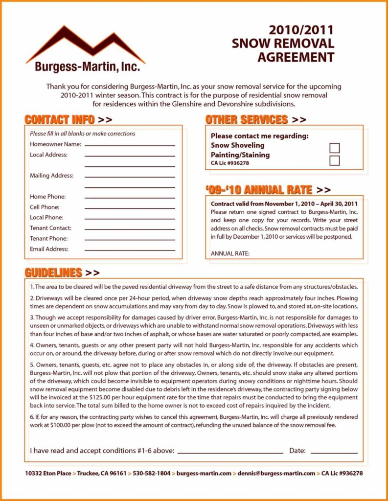 Snow Removal Invoice Template and Snow Plow Contract Template Contegri