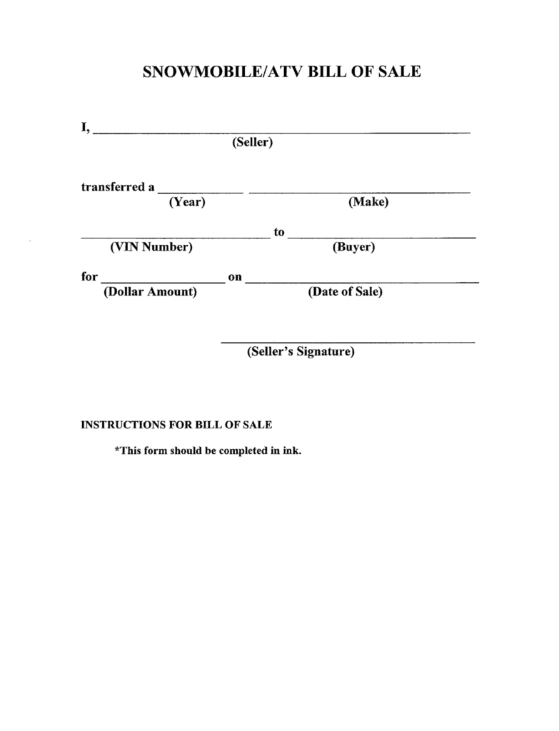 Snowmobile Bill Of Sale Template and Bill Of Sale Template Sample for Snowmobile and atv Helloalive