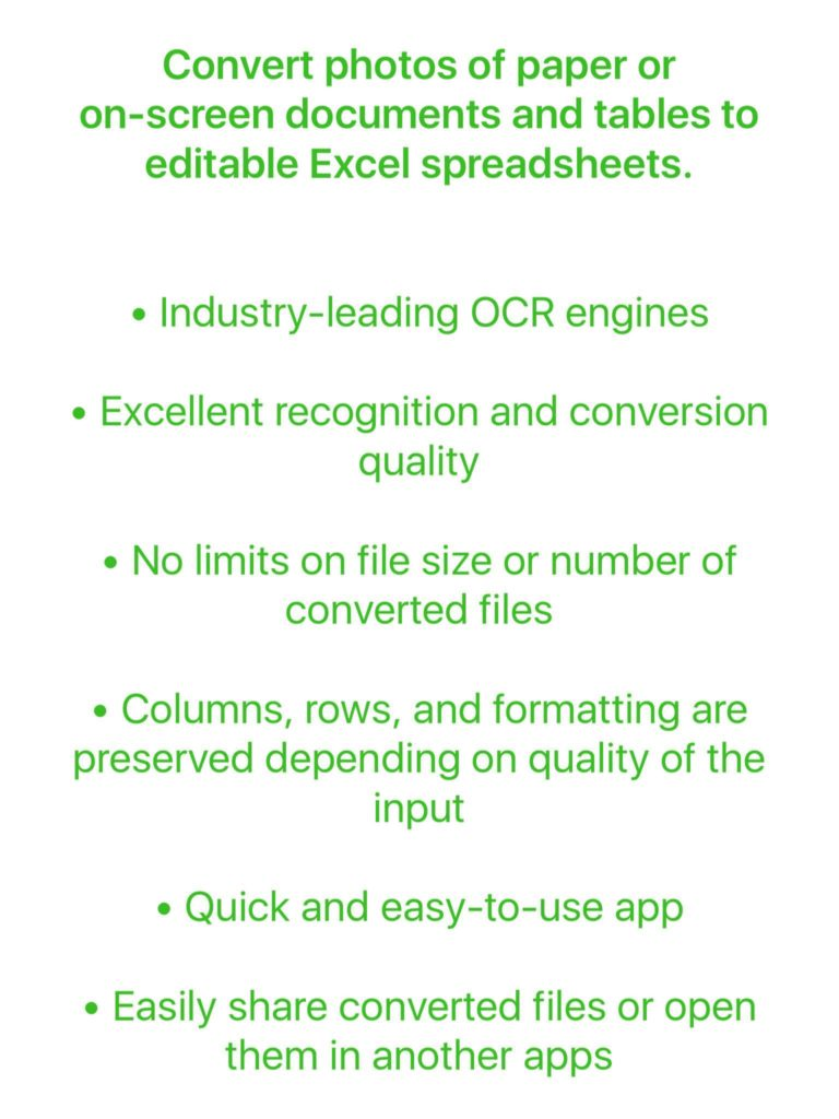 Spreadsheet for Ipad Compatible with Excel and Image to Excel Converter Ocr Convert Photos Of Tables and