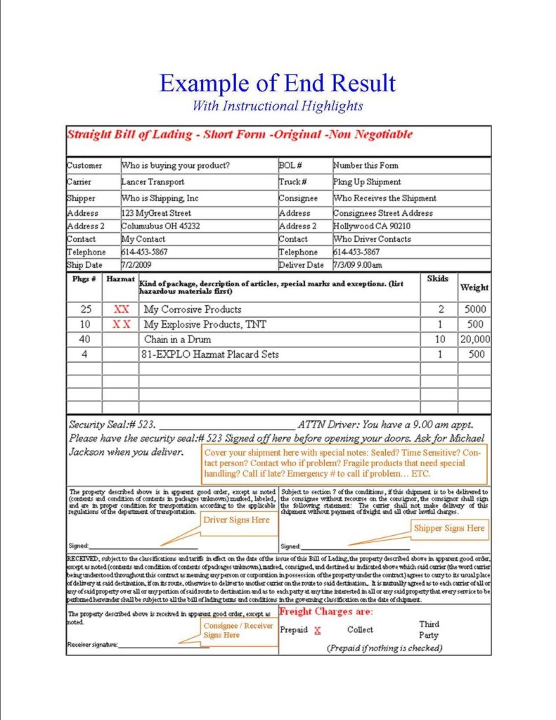 Straight Bill Of Lading Short form Template and Free Online Bill Of Lading