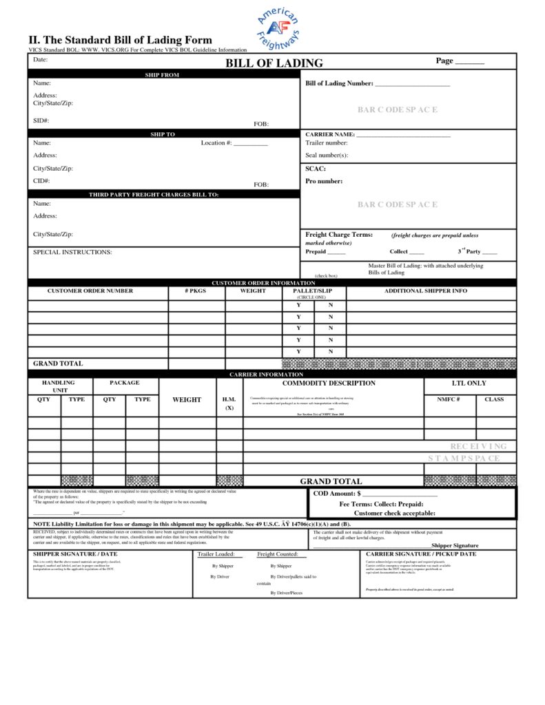 Straight Bill Of Lading Short form Template Free and Free Blank Bill Of Lading Short form Free General Cover Letter