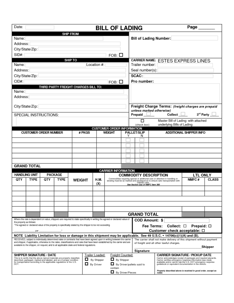 Straight Bill Of Lading Template Free and 10 Best Images Of Free Printable Bill Of Lading form Printable