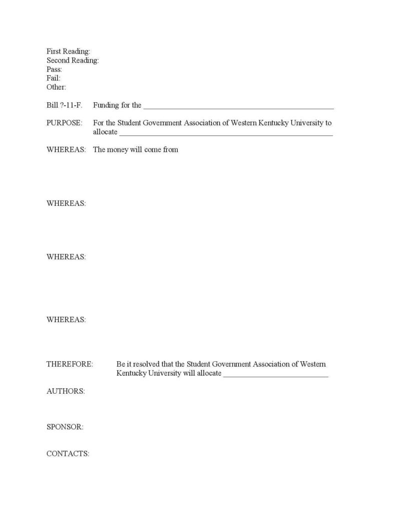 Student Congress Bill Template and Writing Bills Resolutions Western Kentucky University