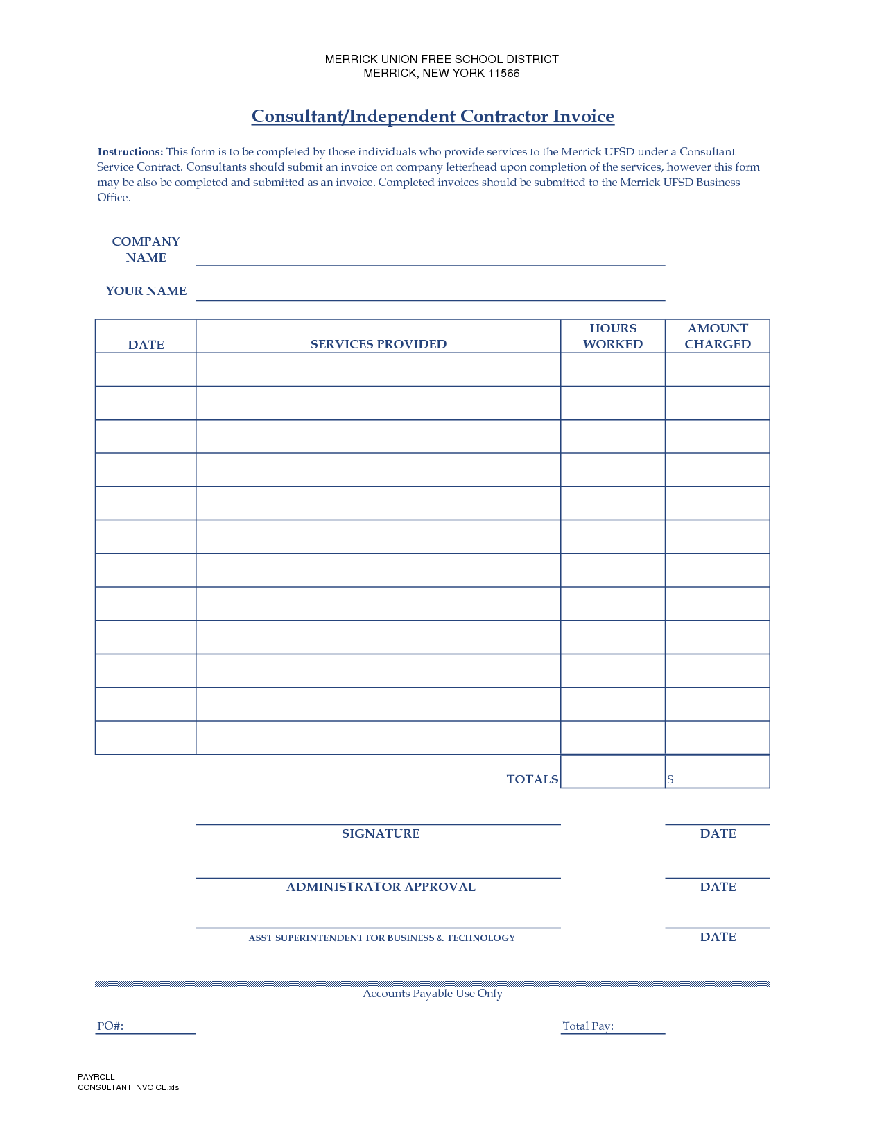 Subcontractor Invoice Template and Contractor Invoice Template Free Invoice Example