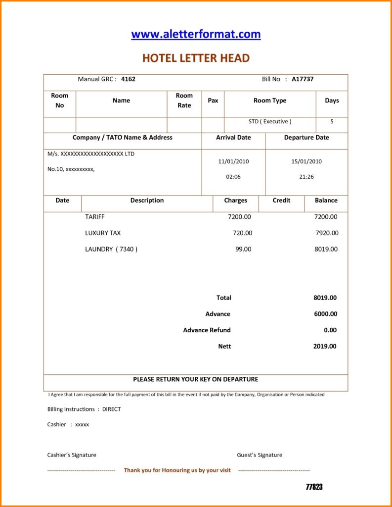 Taxi Bill Template and 3 Hotel Bills format Simple Bill