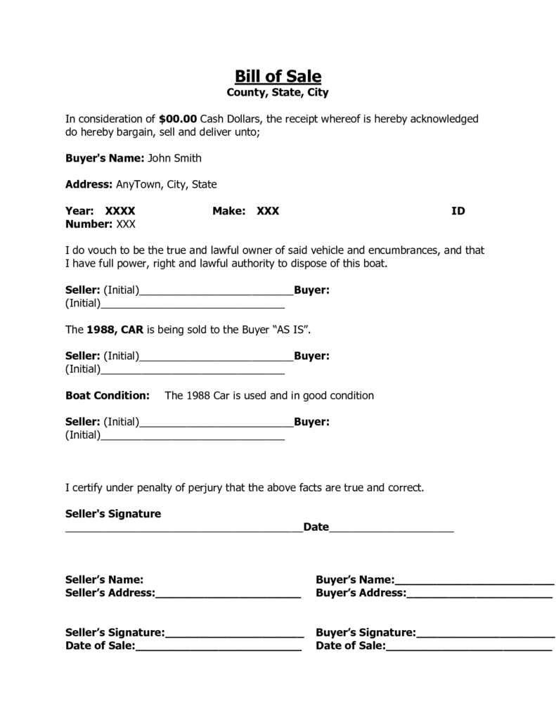Template Bill Of Sale for Used Car and Printable Sample Free Car Bill Of Sale Template form Laywers
