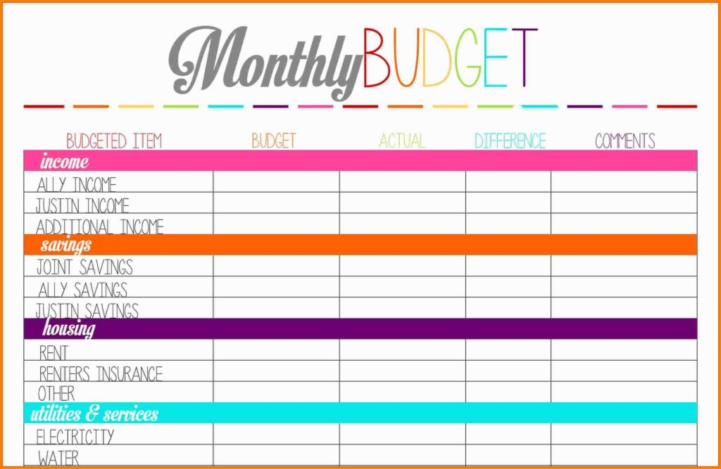 Template for Bills and 8 Bud Planner Worksheet Monthly Bills Template Inside