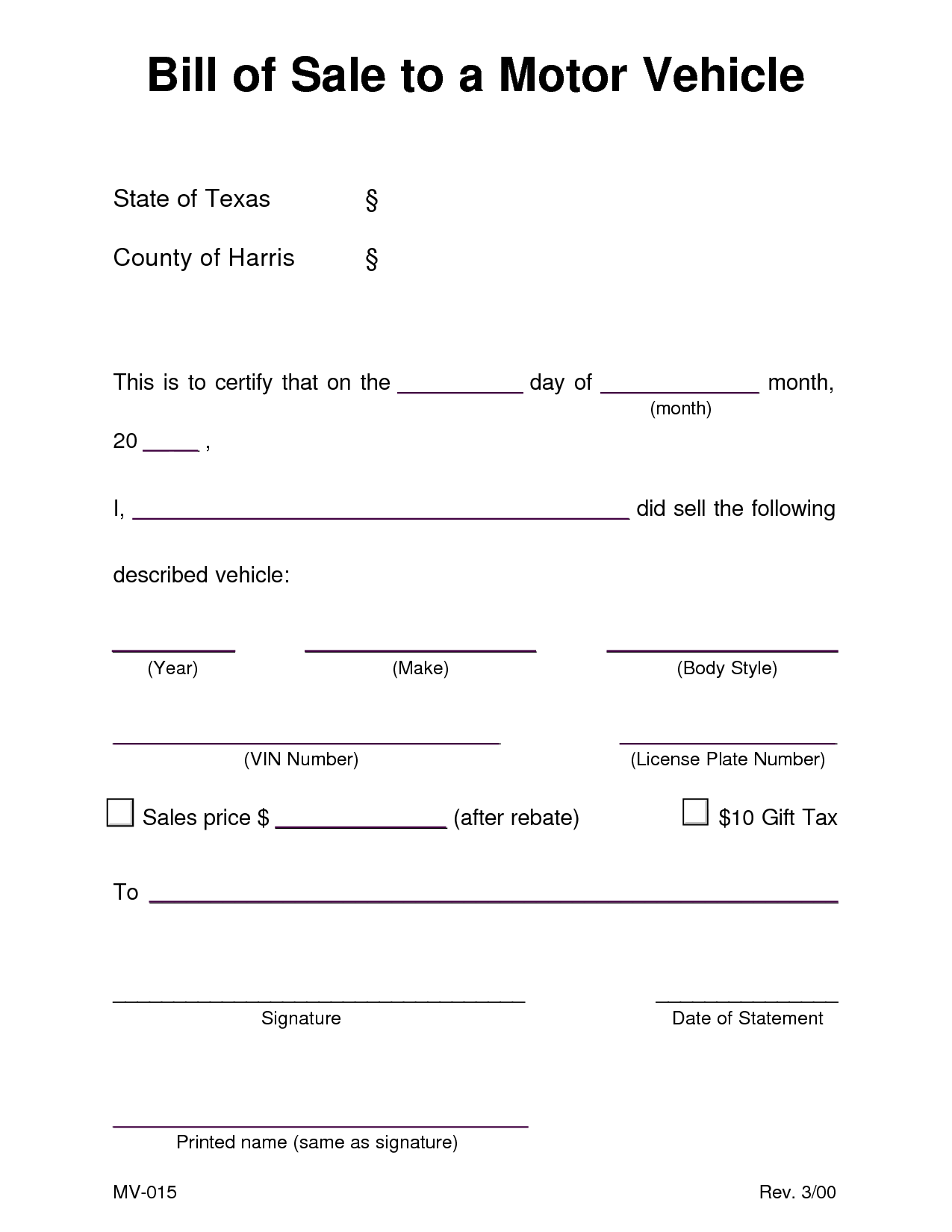 Texas Bill Of Sale Template and Auto Bill Of Sale Template Tristarhomecareinc
