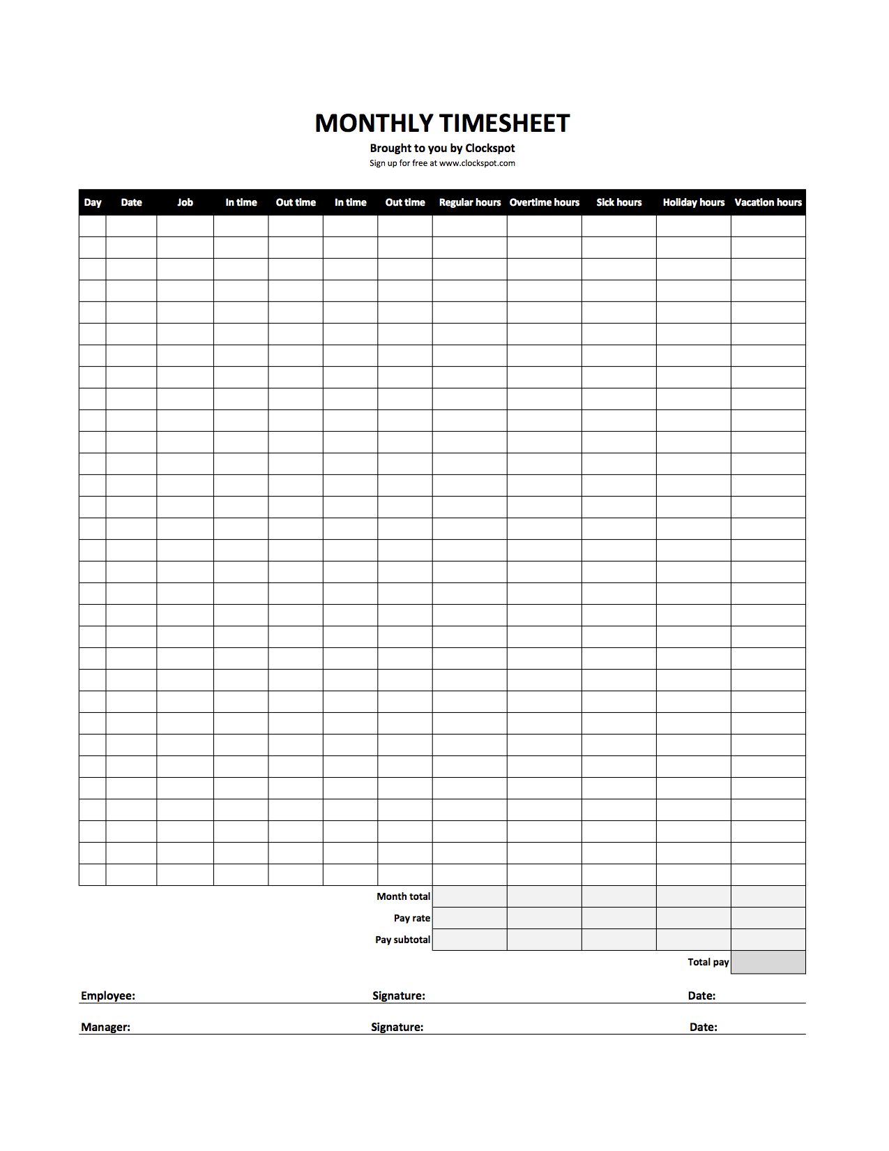 Time Tracking Spreadsheet and Free Time Tracking Spreadsheets Excel Timesheet Templates