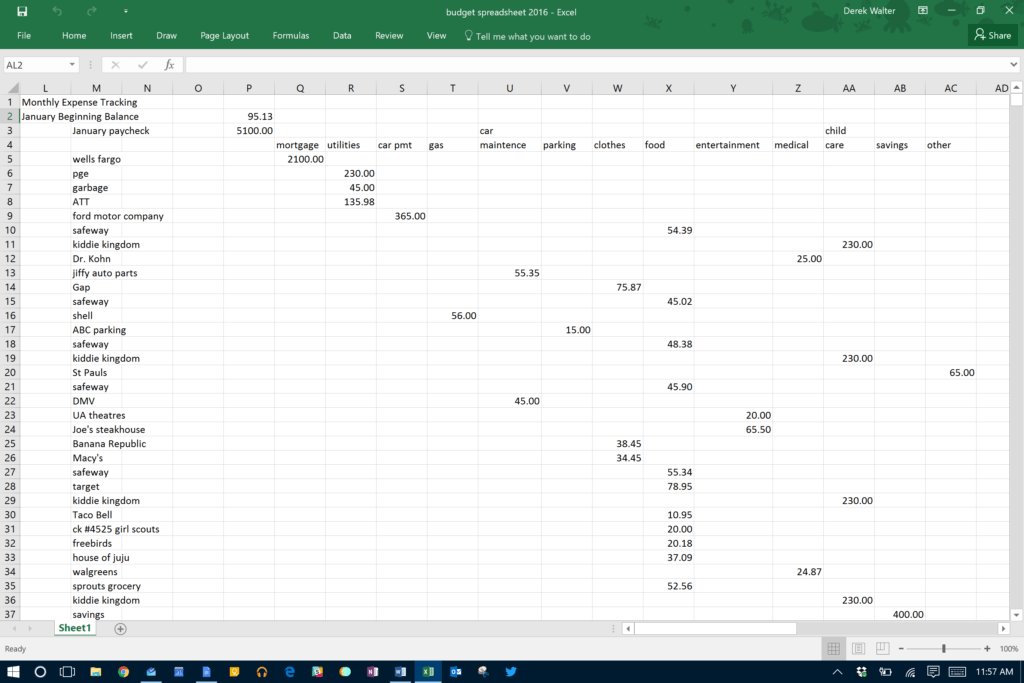 Track My Spending Spreadsheet and Microsoft Excel the Spreadsheet Takes Minutes to Maintain