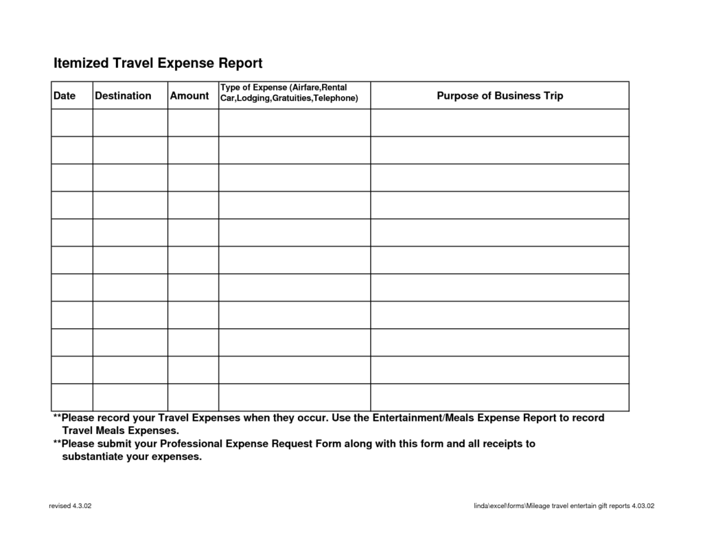 Travel and Expense Policy Sample and Blank Travel and Expense Log Report Template Sample Helloalive