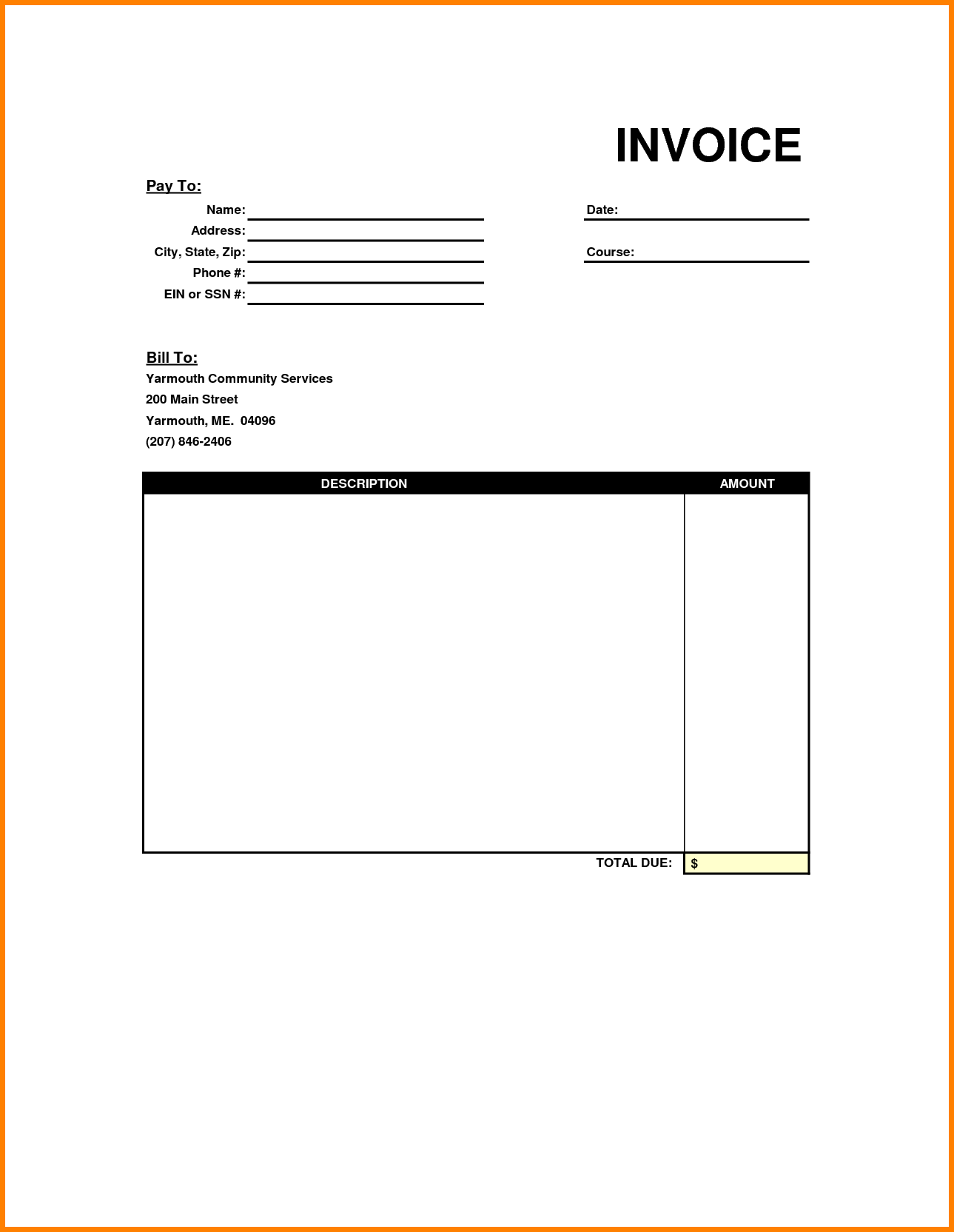 Utility Bill Template and Printable Invoice Template Your sourche for Printable Invoice
