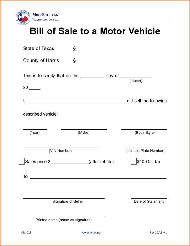 Vehicle Bill Of Sale Texas Template and Bill Of Sale form Texas soap format