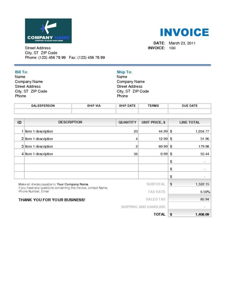 Water Damage Invoice Sample and 4 Free Roofing Invoice Templates In Excel Firmsinjafo