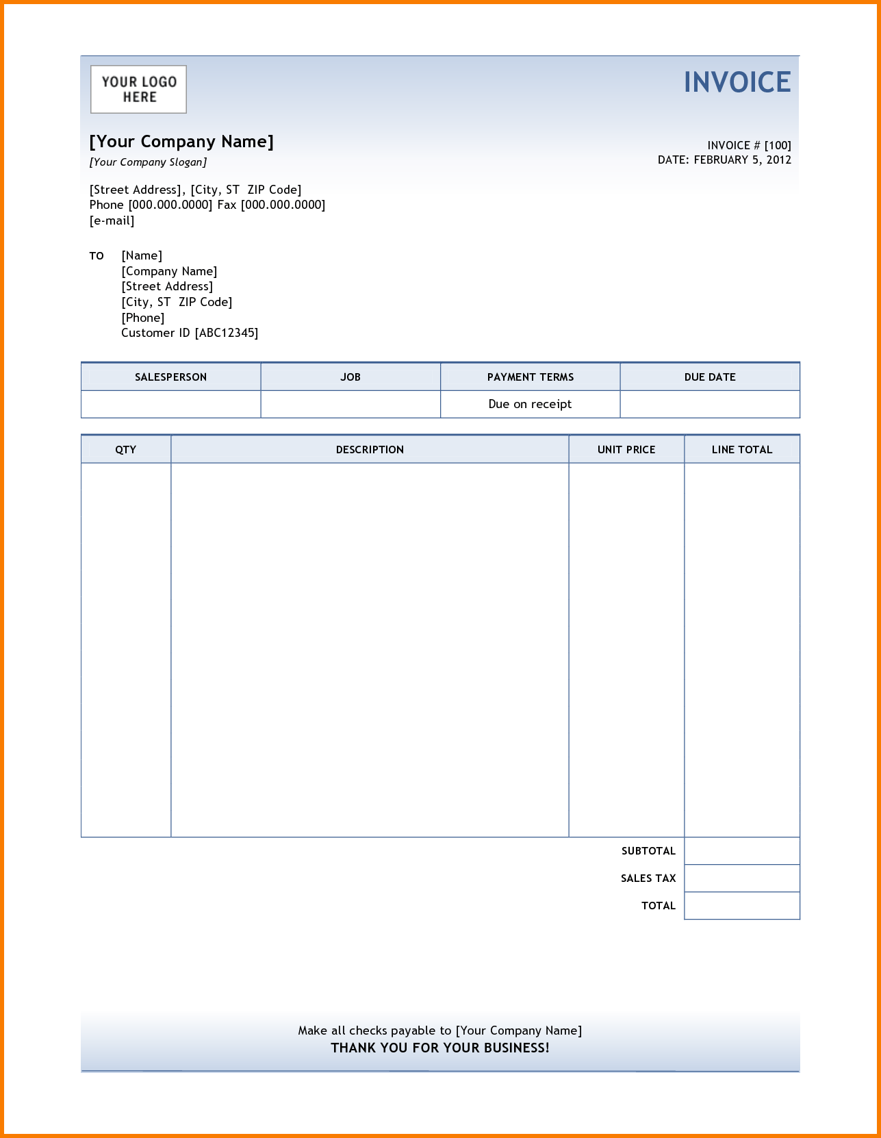Work Invoice Template Free Download and 7 Invoice format Receipt Templates