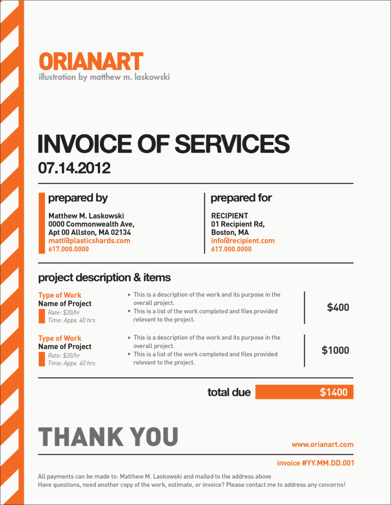 Work Invoice Template Free Download and Here S A Blank Example Of the Invoice that I Send to Clients