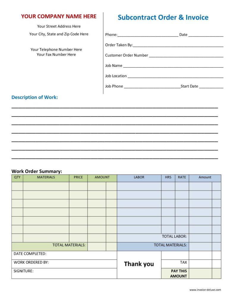 Work order Sheet Sample and Excel Work order Template Rabitah