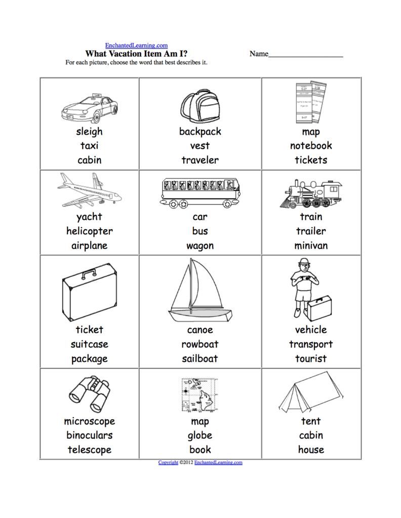 Worksheet On Phonics for Kindergarten and Vacation and Travel at Enchantedlearning Summer Fun