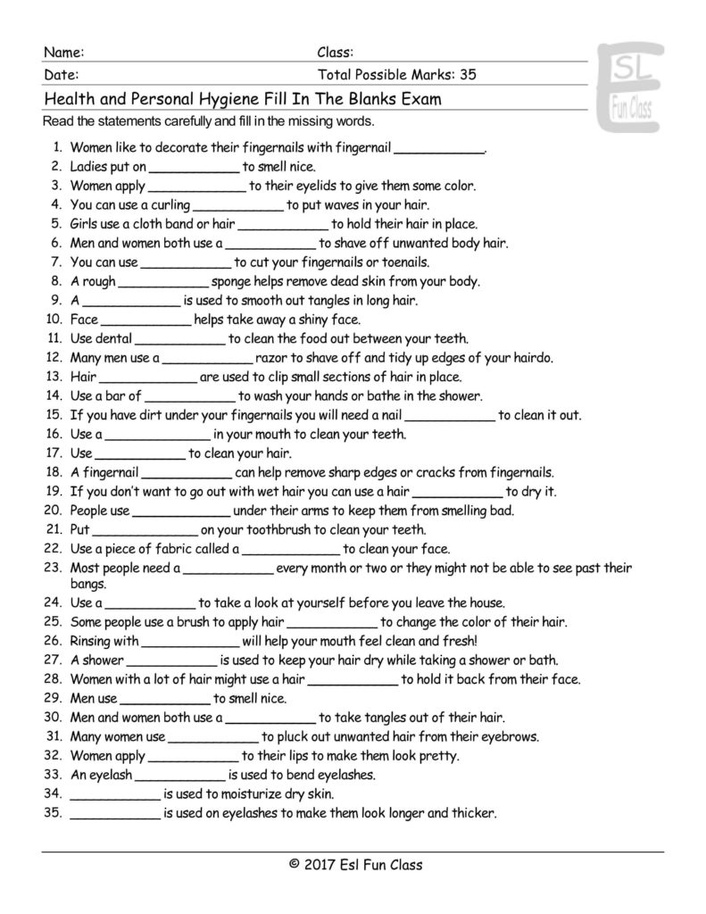 Worksheets On Health and Hygiene and Health Personal Hygiene Fill In the Blank Exam Esl Fun Games Have Fun