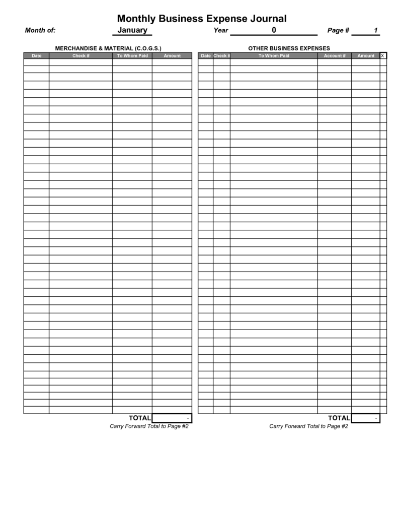 Yearly Expense Report Template and Blank Monthly Business Expense Journal Page and Template Helloalive