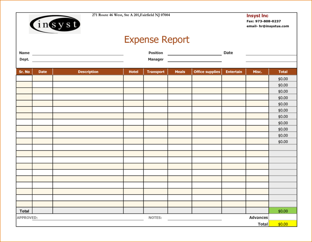 Yearly Expense Report Template and Excel Report Template