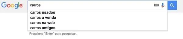 Caixa de busca do Google com a palavra carros