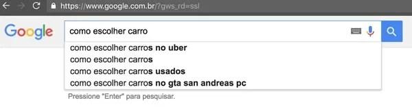 """Caixa de busca do Google com o termo """"como escolher carro"""""""